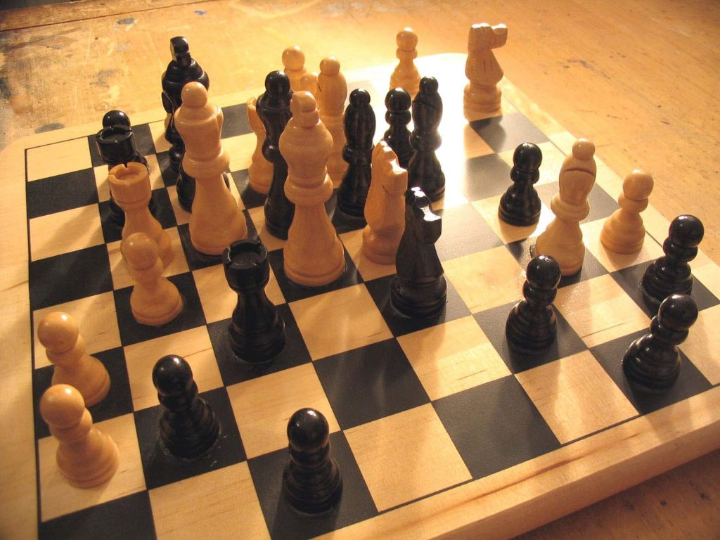 Chess art. Pieces of a chess board arranged peacefully, without conflict.