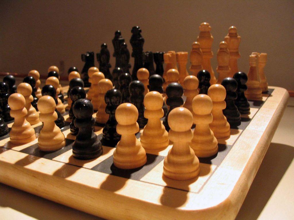 Chess art. Rearrangement of chess board pieces.