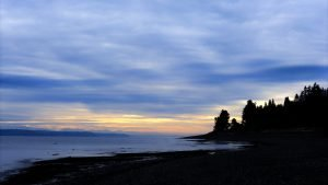 Sunrise morning at Fay Bainbridge Island campground with shoreline of Puget Sound, blue clouds, silhouette of trees